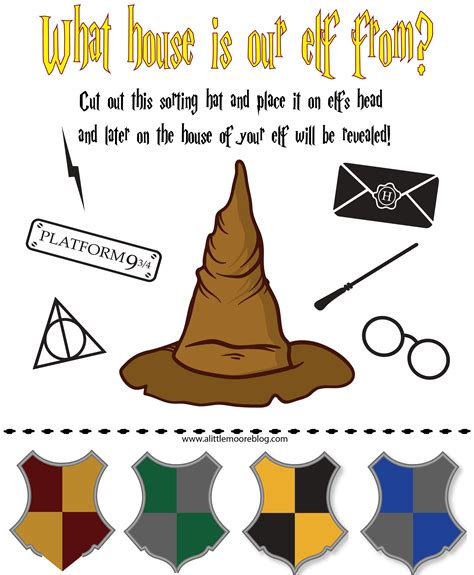 elf on the shelf harry potter printable elf on the shelf harry potter sorting hat free printable