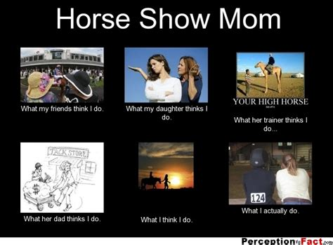 Shwing Meme - horse show mom what people think i do what i really