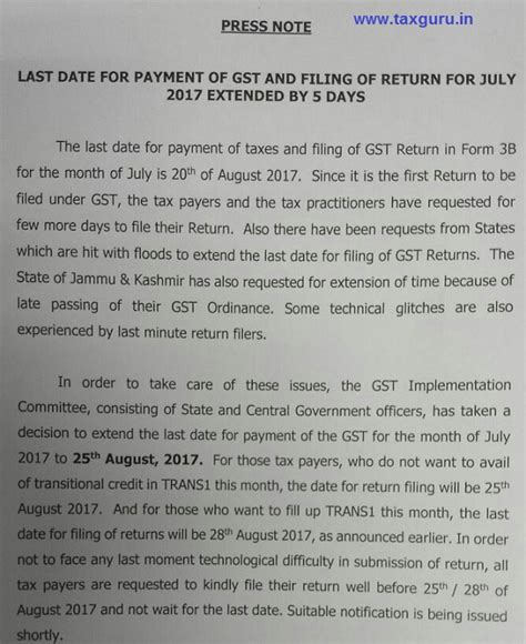 Gst Release Letter Gst Payment Form 3b Date Extended To 25 08 2017