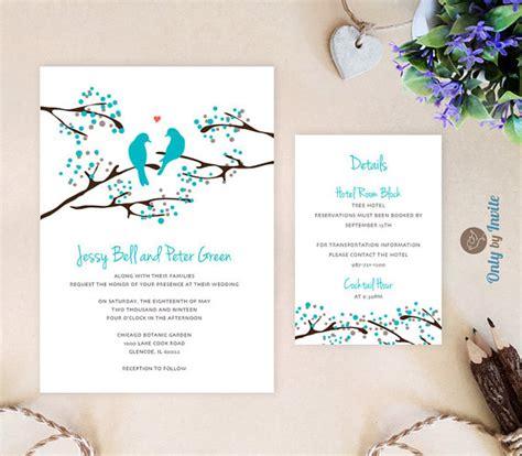 Longorias Tacky Wedding Invitations by Turquoise Wedding Invitation And Info Card Bird Wedding