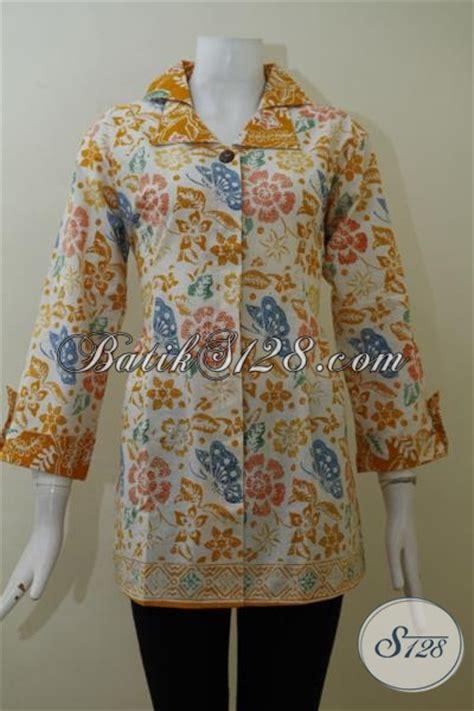 Gamis L Cewek Kuning pakaian batik dasar putih motif kuning dengan model trendy