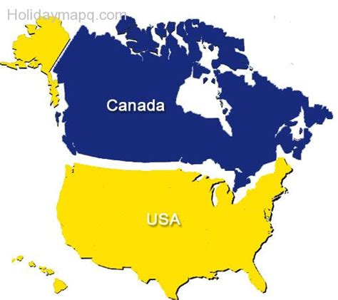map of canada and usa free map of usa and canada holidaymapq