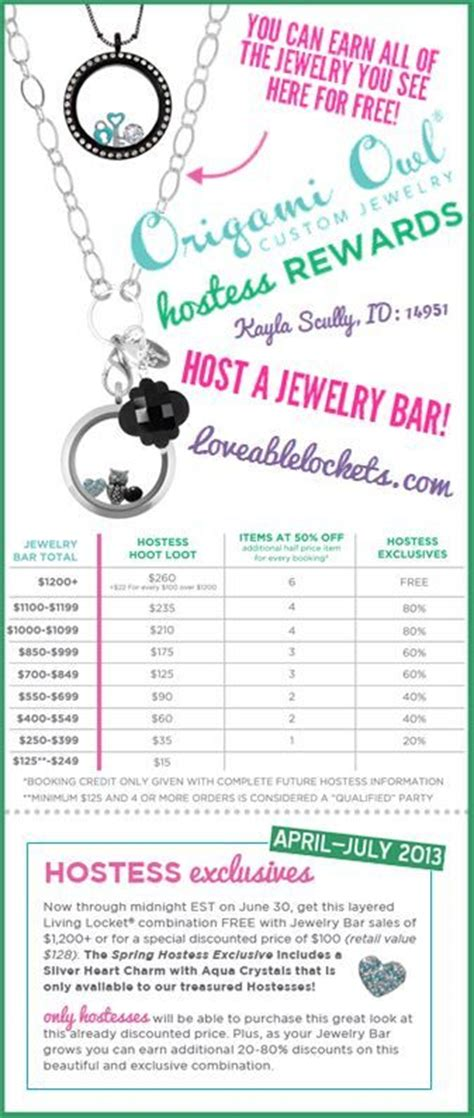 Origami Owl Rewards - origami owl hostess special april 2014 calendar