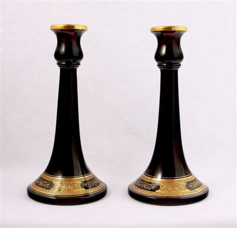 Home Interior Candle Holders by Deep Purple Amp Gold Glass Candlesticks For Sale Antiques