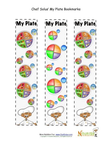 free printable nutrition bookmarks bookmark food groups my plate chef solus activity