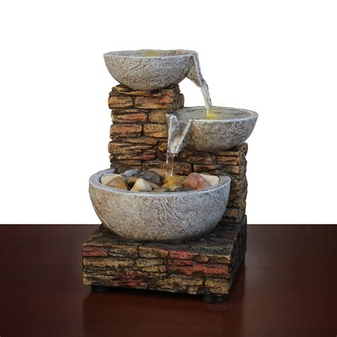 cascading brick bowl rock water led lighted indoor