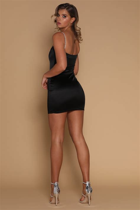 Dress Mini ruby diamante mini dress in black all your fashion