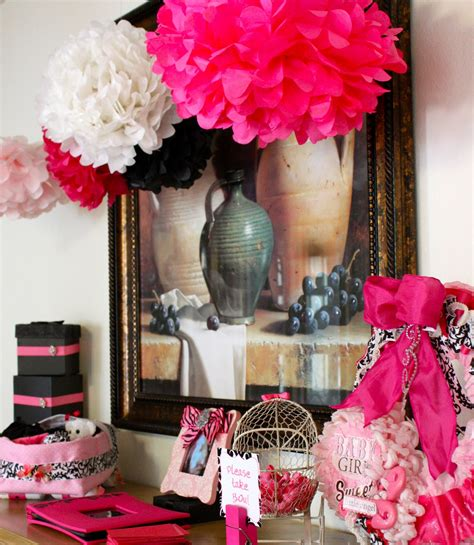 Pink And Black Baby Shower Themes by Tini Posh S Baby Shower Pink Black And White Theme