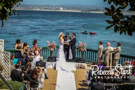 outside wedding venues in monterey ca pink and navy wedding at the monterey plaza hotel
