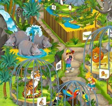 imagenes de animales de zoologico animados zool 243 gico de dibujos animados ilustraci 243 n para los ni 241 os