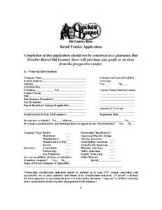 cracker barrel job application cracker barrel vendor application fill printable