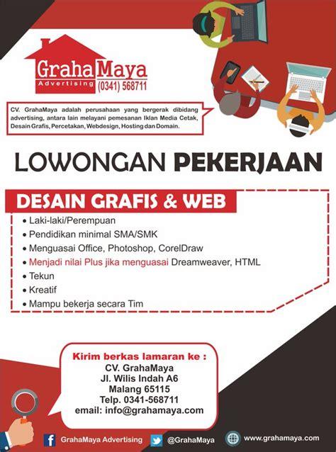 lowongan kerja desain agustus 2015 graha maya advertising desainer grafis web halomalang com