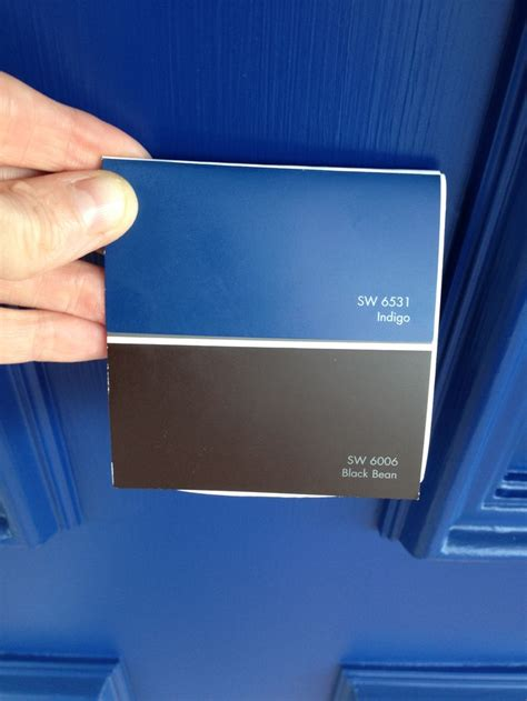 paint colors from sherwin williams indigo on doors and black bean on shutters wall colors