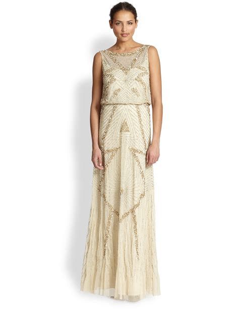 gold beaded gown aidan mattox beaded deco gown in gold light gold lyst