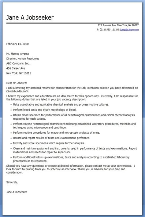 Cover Letter Laboratory Technologist cover letter for lab tech cover letter templates