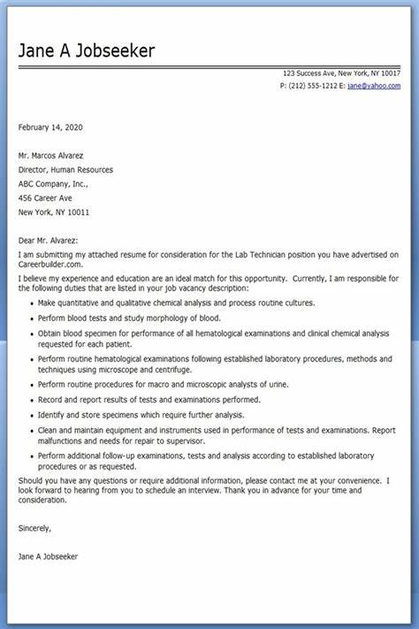 Lab Technician Cover Letter Examples Resume Downloads