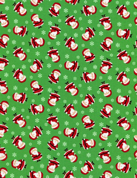 christmas pattern green santa claus flannel fabric timeless treasures mini cf2250