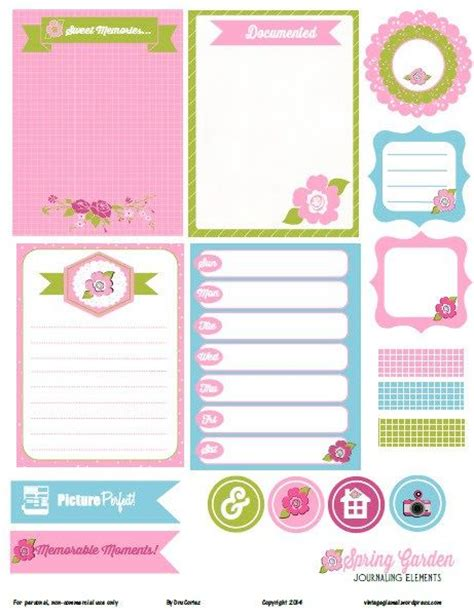 free printable journal labels free printable download spring garden journaling