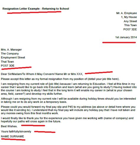 resignation letter exle returning to school resignation letter exles