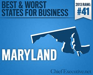 Top Mba Programs In Maryland by Maryland Is The 41st Best State For Business 2013