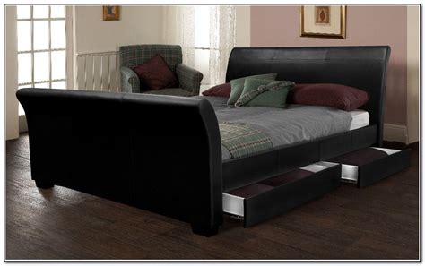 Black Leather Sleigh Bed Black Leather Sleigh Bed Black Leather Sleigh Bed King Black Leather Sleigh Bed