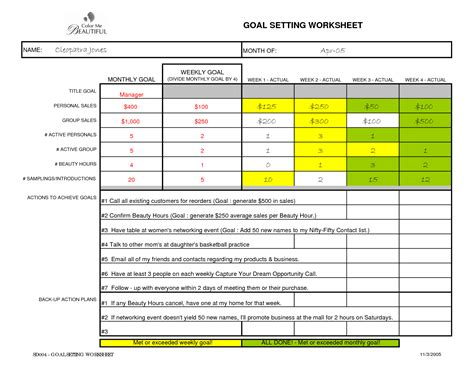 sales goals template best photos of sales goal sheet sales goal sheet