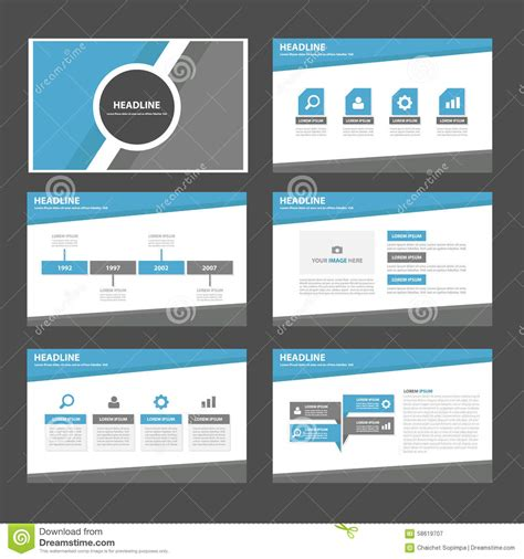 Blue And Grey Multipurpose Infographic Presentation Brochure Flyer Leaflet Website Template Flat Website Presentation Template