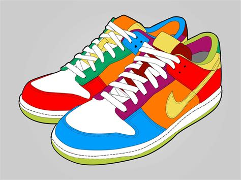 colorful nike shoes colorful shoes vector graphics freevector