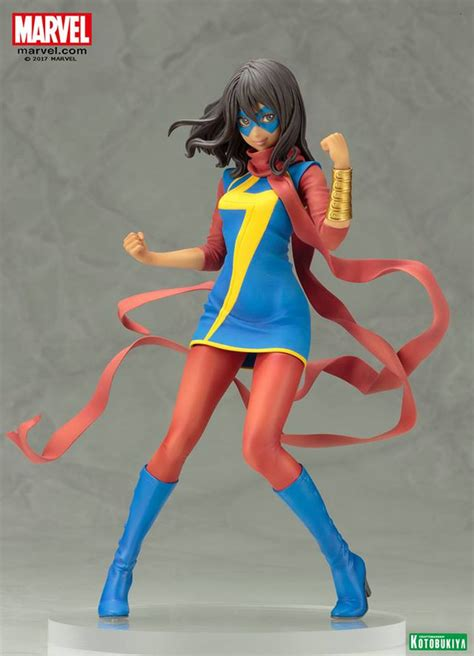 Kotobukiya Mk221 Ms Marvel Kamala Khan kotobukiya reveals ms marvel kamala khan and katana bishoujo figures the