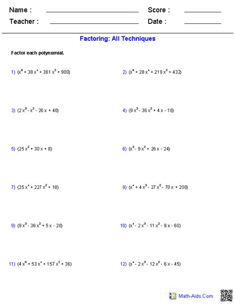 Factoring Polynomials Worksheet With Answers Algebra 2 by Algebra 2 Worksheets Polynomial Functions Worksheets