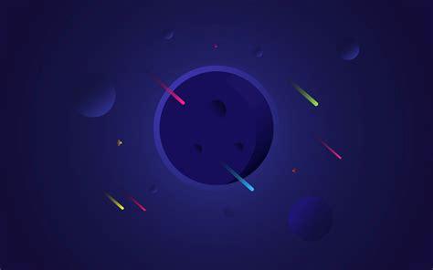 wallpaper planets blue falling stars minimal  space