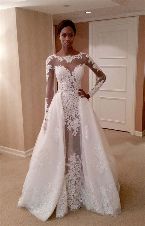 2016 Zuhair Mural Wedding Dress With Overskirt Sheer Long
