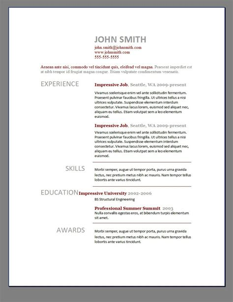 Modern Cv Template Free by Modern Resume Templates Free Sle Resume Cover Letter