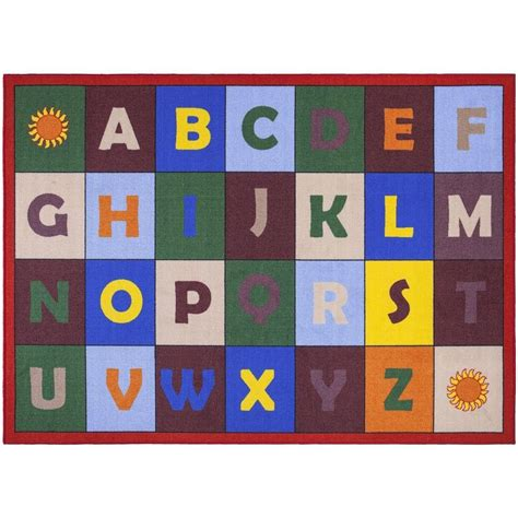 Ottomanson Jenny Collection Red Alphabet Design 7 Ft 10 Alphabet Rug