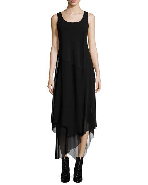 fuzzi sleeveless jersey handkerchief dress  black lyst