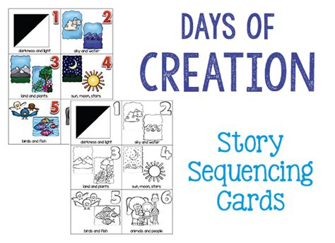 themes in creation stories days of creation cards prekinders