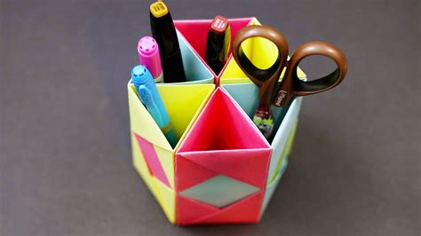 Useful Origami Things - origami pencil holder desk organizer diy paper craft