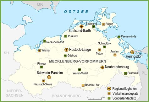 map of airports map of airports in mecklenburg vorpommern