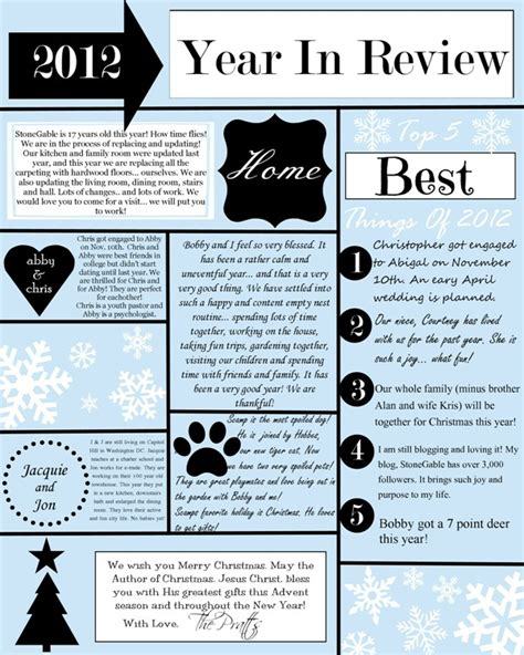A Year In Review Christmas Letter And Template Stonegable Family Newsletter Template Microsoft Word