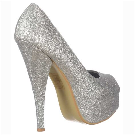 High Heels Gliter Silver shoekandi silver sparkly glitter peep toe stiletto concealed platform high heel shoes silver