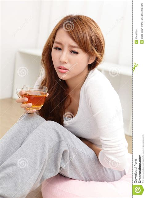 Woman With Stomach Ache Royalty Free Stock Photos   Image: 35690358