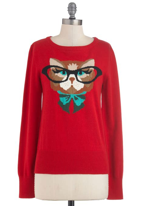 Cat Sweaters - cat eyeglasses sweater in mod retro vintage sweaters