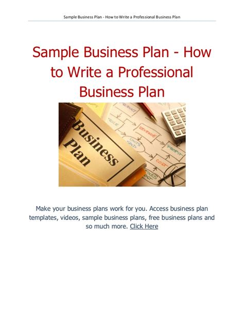 how to write a professional business plan