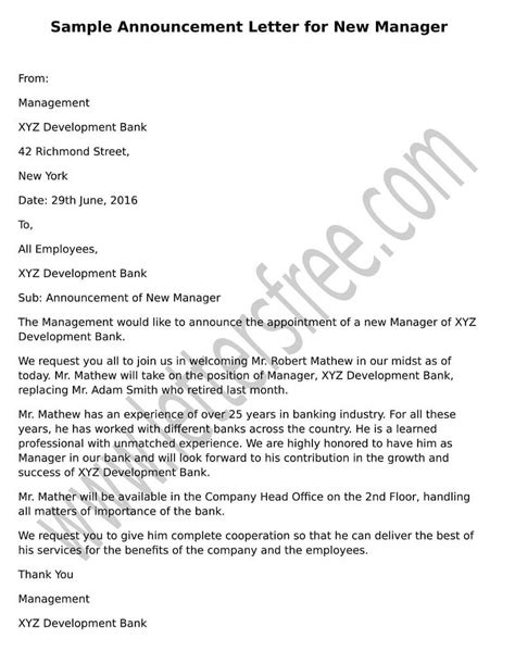 letter format to company manager sle announcement letter for new manager free letters