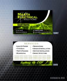 electrical company business cards business card design design for maxta electrical solutions a company in australia