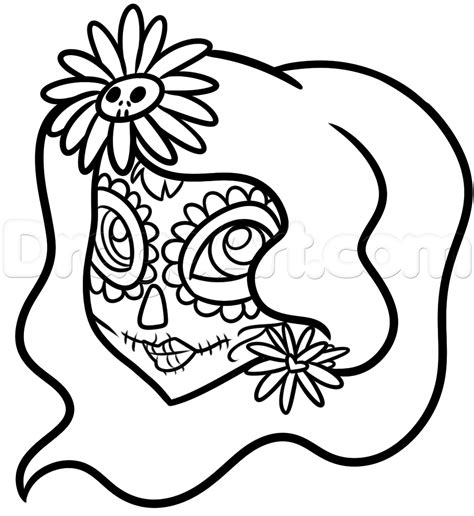 Day Of The Dead Drawings Easy by Easy Day Of The Dead Drawing Tutorial Step By Step