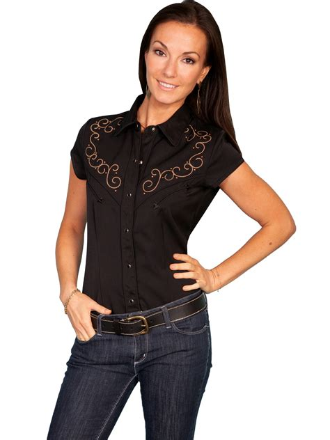 Wst 14197 Black Embroidered Blouse scully 174 s black embroidered cs western blouse