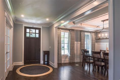 dining room entryway interior view of classic front entry mahgoany door with
