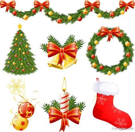 4 designer christmas decorative items vector