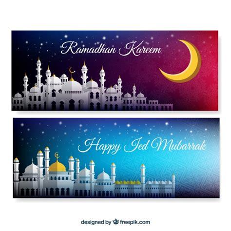 design banner ramadan banners of ramadan kareem with mosque vector free download